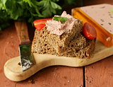 gourmet liver pate with black rye bread rustic style
