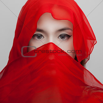 portrait young girl in red