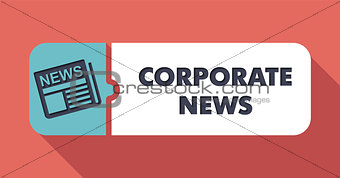 Corporate News Concept on Scarlet in Flat Design.