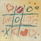 vector Tic Tac Toe Hearts, Valentine background. The valentine's day. Love heart. Hand-drawn icons symbols.
