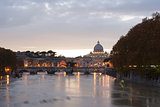 view of st peter's basilica and saint angel bridge
