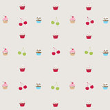 seamless pattern with decorated cupcakes