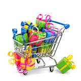 Shopping Cart With Colourful Presents