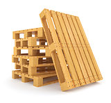 Pile of wooden pallets isolated on white background