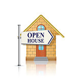 Open House for Sale with White Real Estate Sign