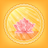 Lotus Flower in Orange Water in Round Label