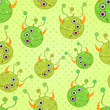 Green Monster Heads Seamless Background