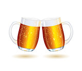 Two Splashing Shiny Beer Mugs