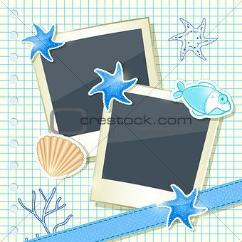 Card with Two Blank Photo Frames with Underwater elements