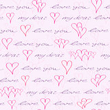 Valentine Seamless Pattern with Hand Writing Element