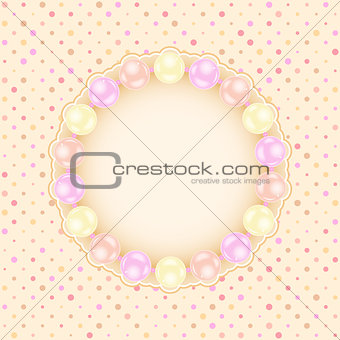 Greeting Wedding Card with Pearls.