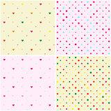 Set of Polka Dot Heart Seamless Patterns