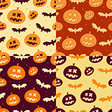 Set of Scary Halloween Pumpkin Pattern