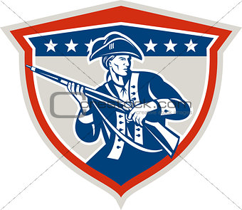 American Patriot Holding Musket Rifle Shield Retro