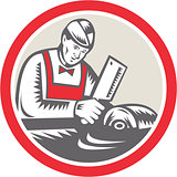 Butcher Woodcut Circle Retro