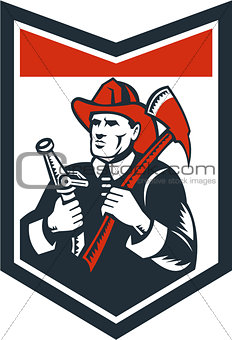 Fireman Firefighter Carry Axe Hose Shield Woodcut