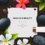 Health and beauty template with Natural spa cosmetics products