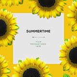 Summertime template with sunflowers