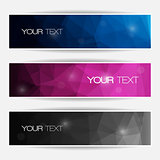 Abstract polygonal banners set