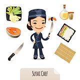 Female Sushi Chef Icons Set.