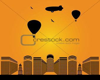 city buildings zeppelin