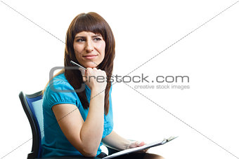 attractive girl with a folder on a white background