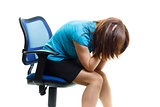 upset and tired girl on a chair on a white background