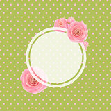 Pink Rose Label And Green Background
