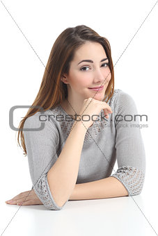 Beautiful woman portrait  posing raising eyebrow