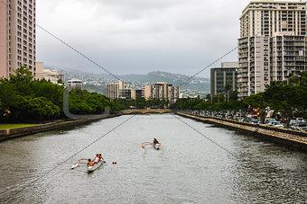 Ala Wai Canal, Oahu, Hawaii.