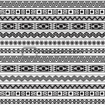 Abstract Black and White Ethnic Seamless Geometric Pattern. Vector Background
