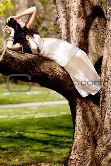 beautiful brunette woman in summertime