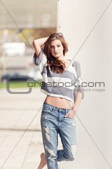 attractive woman barefoot in summertime outdoor