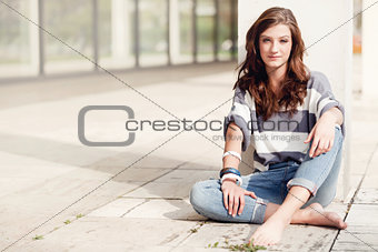 attractive woman barefoot in summertime outdoor