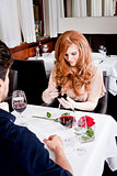 happy couple in restaurant, romantic date