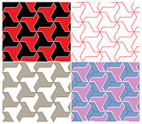 Set of Four Color Seamless Patterns. Triangle Elements
