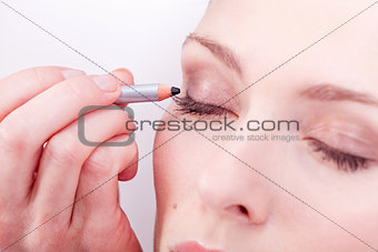 at the cosmetic studio eyeliner on eyes make up
