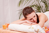 young attractive woman doing wellness spa