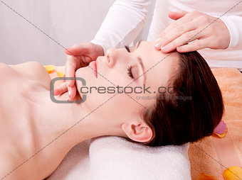 young attractive woman at wellness spa