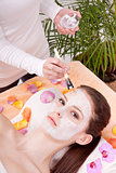 woman face with beauty treatment cosmetic spa