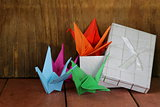 colorful paper origami birds Japanese symbol