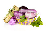 Fresh ripe eggplants in basket