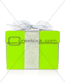Green gift box with silver ribbon and bow