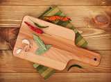 Herbs and spices on cutting board
