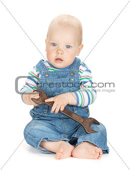 Small cute baby boy worker in jeans