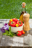Fresh ripe tomatoes, olive oil bottle, pepper shaker and herbs