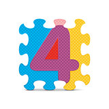 Vector number 4 written with alphabet puzzle