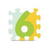 Vector number 6 written with alphabet puzzle