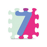 Vector number 7 written with alphabet puzzle