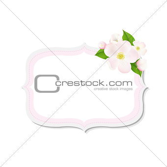 Apple Tree Flowers With Label